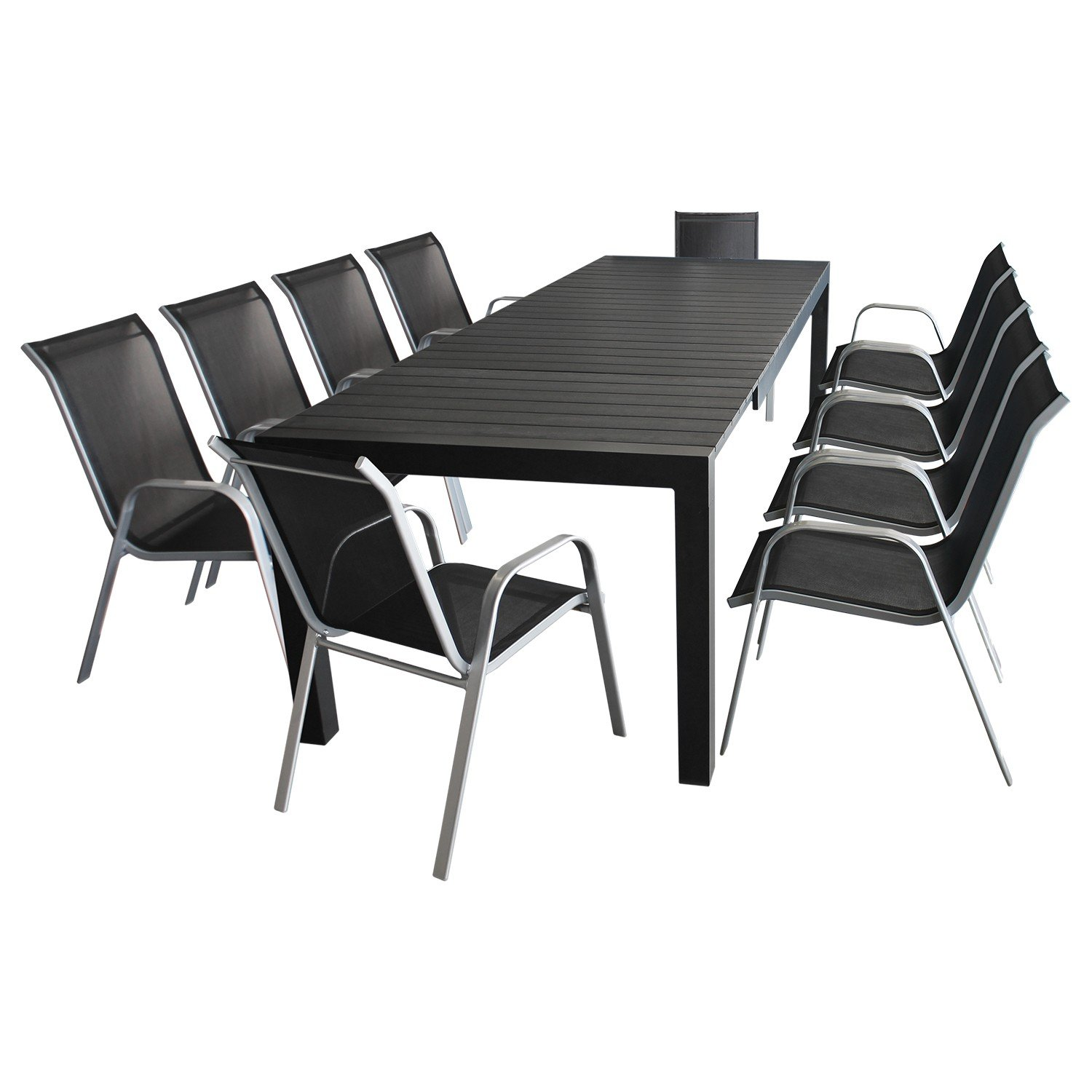 xxl gartenm bel terrassenm bel set sitzgruppe gartengarnitur aluminium ausziehtisch 224 284. Black Bedroom Furniture Sets. Home Design Ideas
