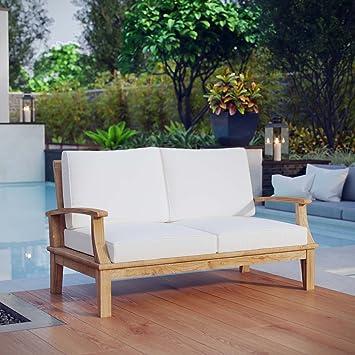 Amazon.com : LexMod Marina Outdoor Patio Teak Loveseat, Natural ...