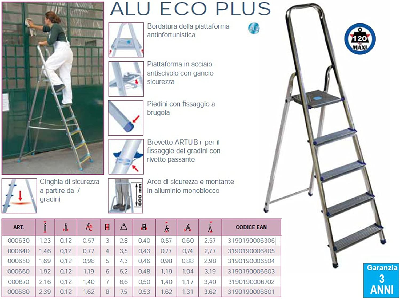 Escalera Aluminio Tubesca Alu Eco Plus 7 peldaños a cartilla MT 3,40: Amazon.es: Bricolaje y herramientas