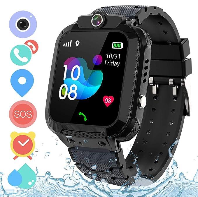 Zeerkeer Reloj Inteligente para niños, Smartwatch Niños con LBS, IP67 Impermeable Llamada Bidireccional Reloj Despertador Infantil SOS Cámara Frontal ...