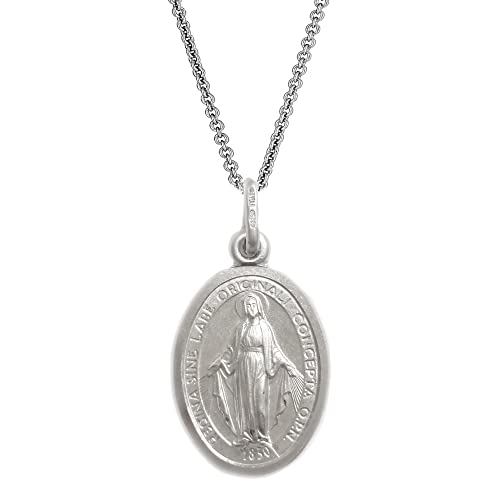 Sterling Silver Miraculous Medal Necklace (12mm) with 16