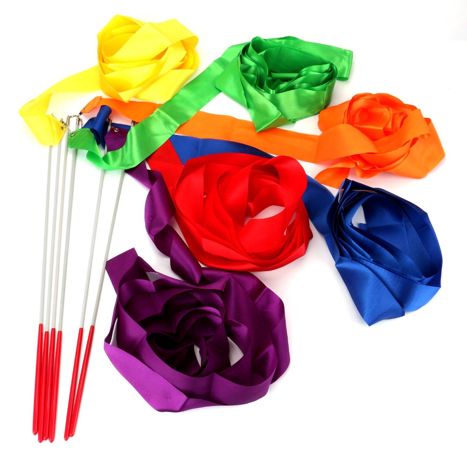 Tosnail 12-Foot Ribbon Dancer Dancing Ribbon Streamer Rhythm Ribbon with 19'' Wand - Set of 6 Colors