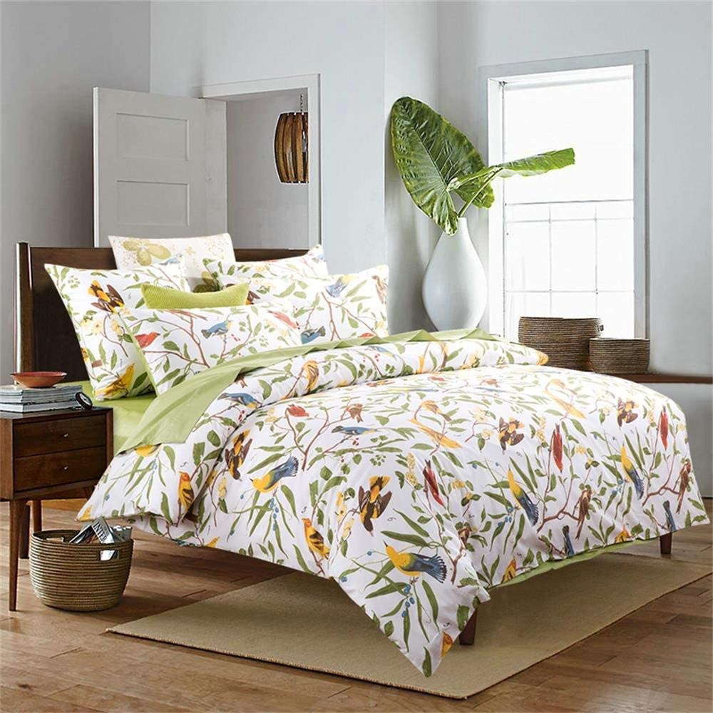 Brandream Duvet Quilt Cover Queen Size, Country Style Bedding Set Colorful Floral Branches Drawing of Summer Blossoms Standard Pillowcase Set 5-Piece