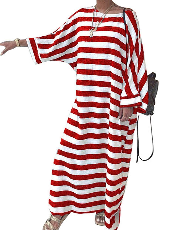 Jacansi Women's Baggy Kaftan Crew Neck Striped Batwing Sleeve Casual Maxi Dress S-2XL Jacansi- 17FB0000171