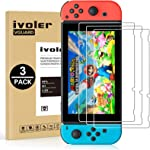 [3 Pack] Screen Protector Tempered Glass for Nintendo Switch, iVoler Transparent
