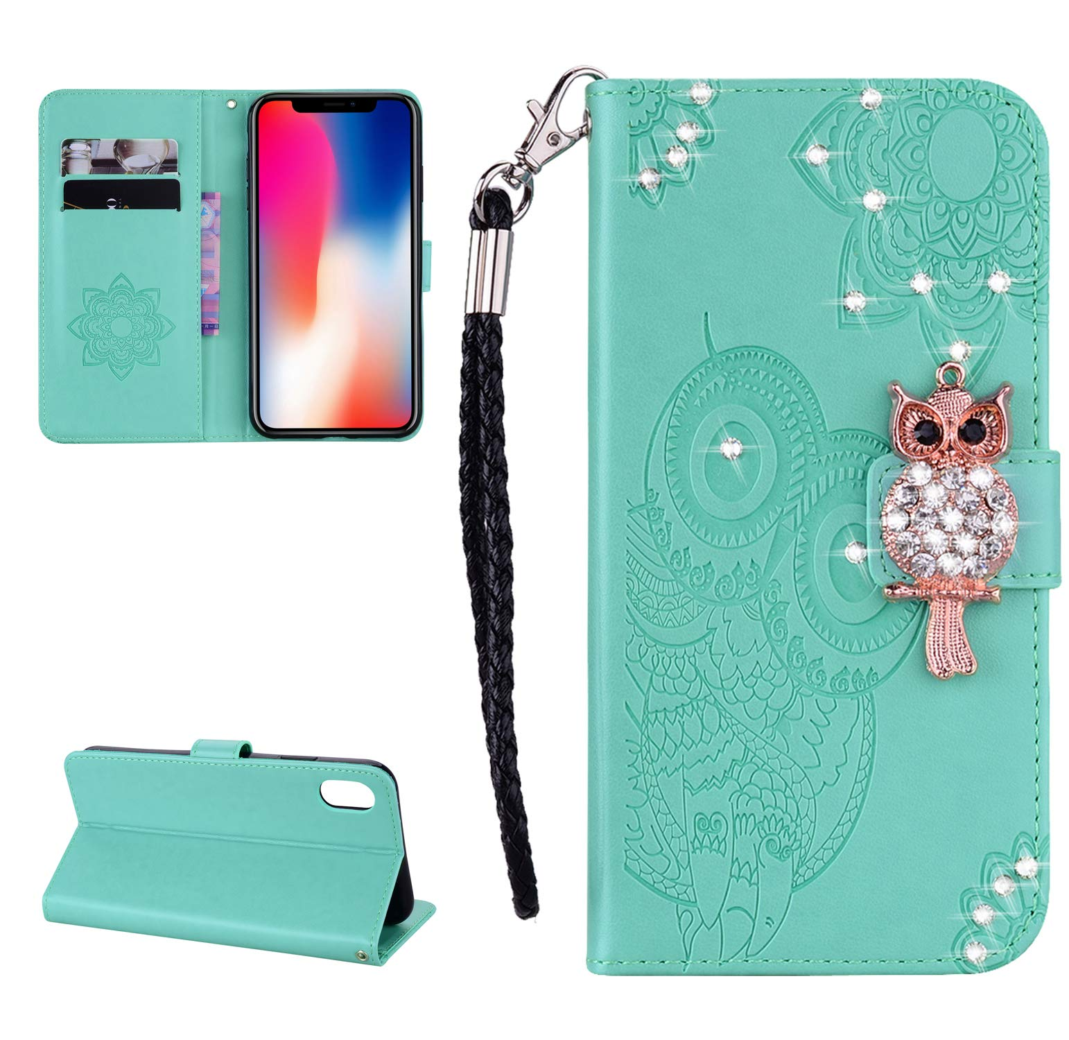 Strap Diamond Wallet Case for iPhone XR 6.1 Inch,Aoucase Luxury 3D Owl Bling Gems Magnetic Cute Mandala Print PU Leather Soft TPU Stand Flip Case with Black Dual-use Pen - Green