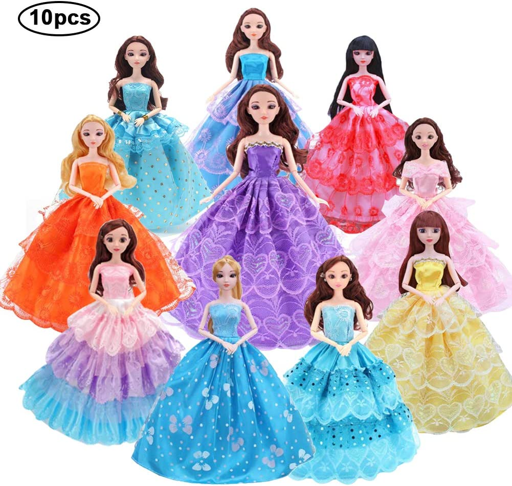 WENTS Doll Princess Dress 10 PCS Fashion Handmade Princess Trailing Skirt Evening Wedding Party Dress Gown for 11 inch Dolls Kids Girls Birthday Random Style Outfits