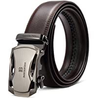 BOSTANTEN Men's Leather Ratchet Dress Belt with Automatic Buckle Wide 1 1/4,Trim to Fit