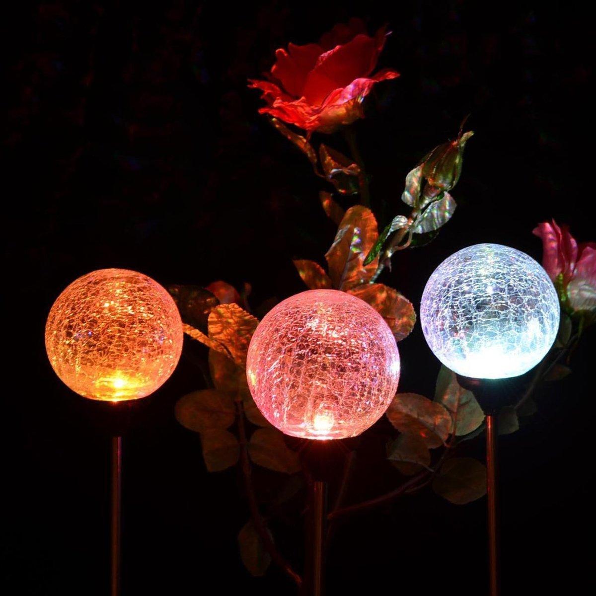 GIGALUMI Outdoor Solar Garden Lights, 3 Pack Cracked Glass Ball Solar Garden Stake Light, Solar Powered Lights Outdoor Multi-Color Changing LED Light for Garden, Patio, Backyard