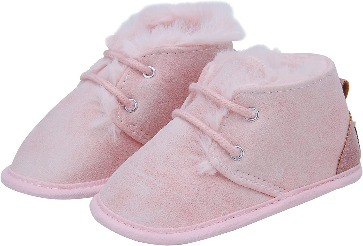 Kuner Baby Boys Girls Plush Shoe Laces Soft Bottom Warm Boots First Walkers Shoes
