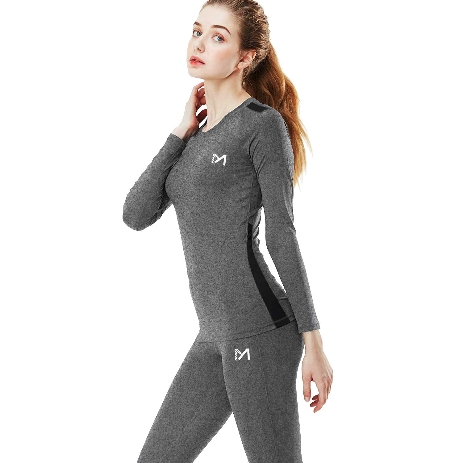 Women's Winter Underwear Set, Sport Thermal Long Johns Base Layer, Outdoor Compression Gear Top & Bottom for Skiing Running (Hgrey, X-Large) by MEETYOO