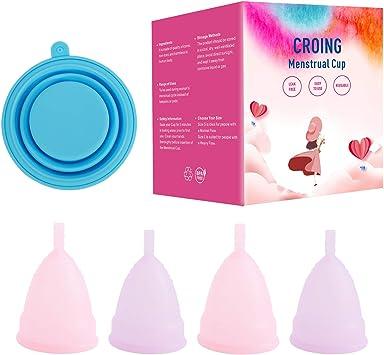 CROING 4 Copas Menstruales con 1 Taza Plegable: Amazon.es ...