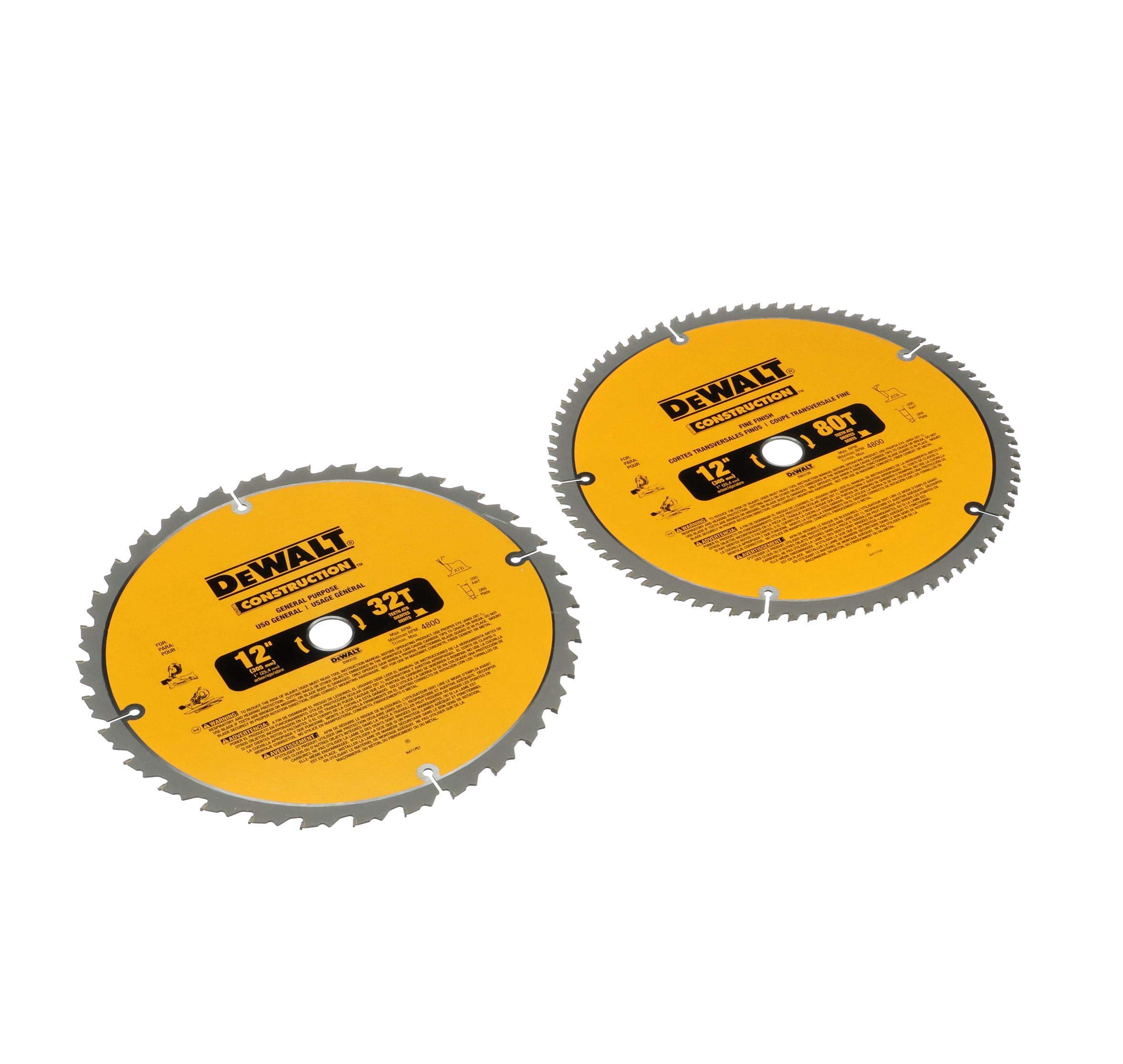 DEWALT DW3128P5 80-Tooth 12 in. Crosscutting Tungsten Carbide Miter Saw Blade - 2 Pack by DEWALT