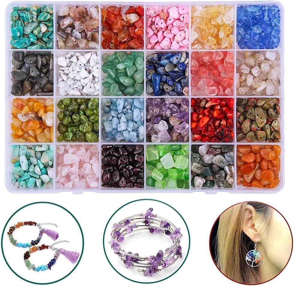 Colle - Juego de cuentas de piedras naturales de cristal curativo sueltas para hacer joyas, collares, pulseras, anillos, 24 colores (multicolor)