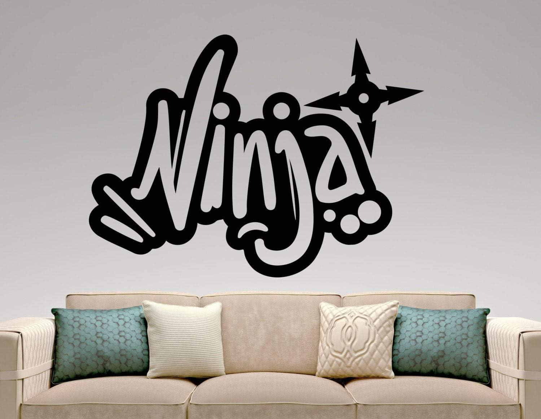 BYRON HOYLE Ninja Graffiti Wall Decal Vinyl Sticker Home Interior Design Living Room Wall Decoration Bedroom Wall Art Murals Removable Stickers 7ninz