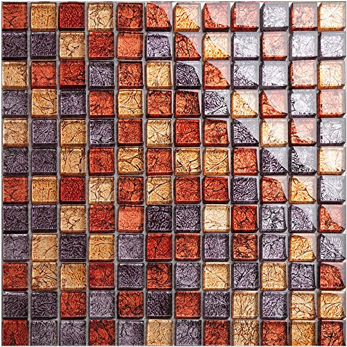 New Design Purple Red foils Glass Mesh-mounted Mosaic Tile Sheet for Kitchen Backsplash Bathroom Wall and Swimming Pool 12 In. X 12 In. LSJB03 (11PCS (Swimming Pool Glass Tile)