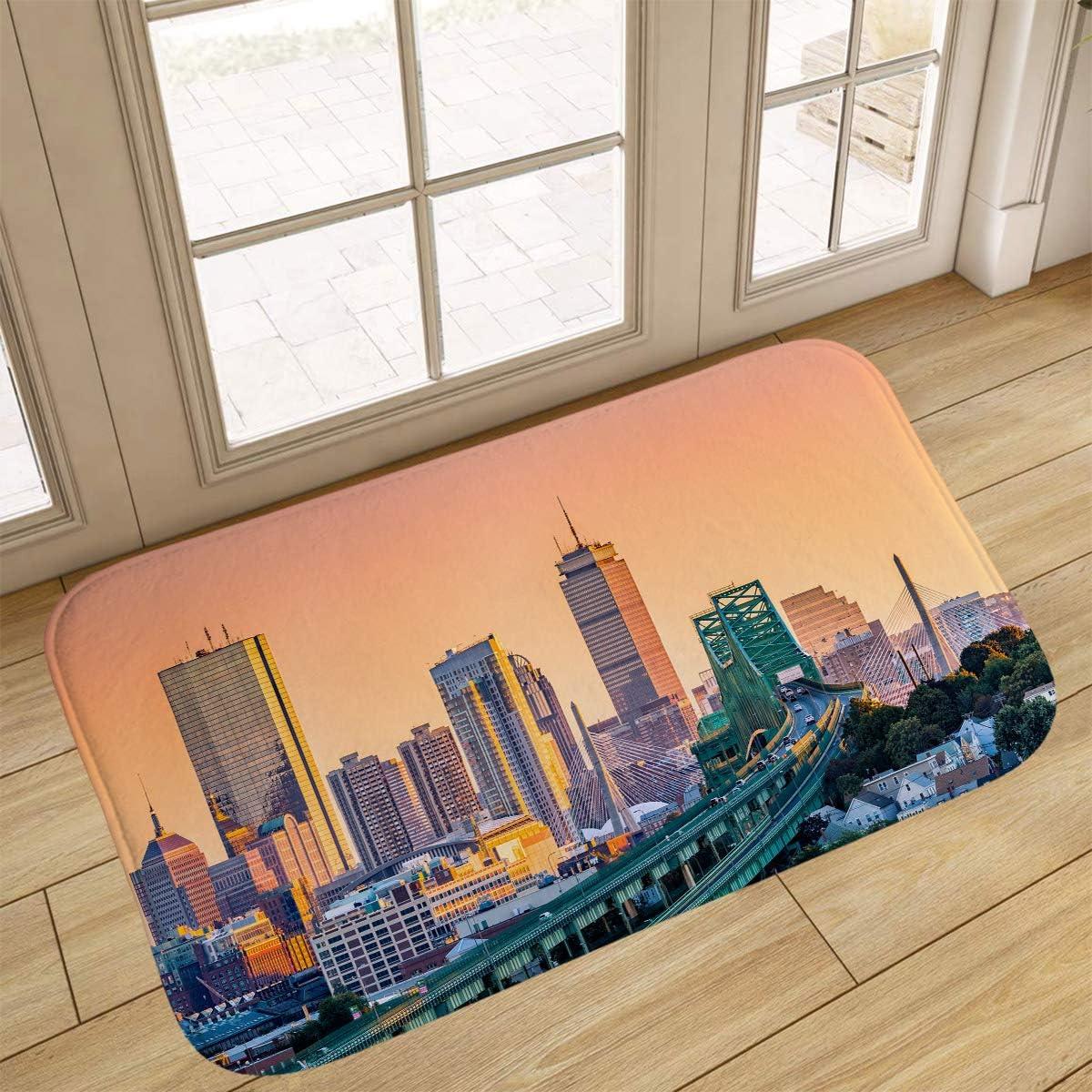Y Heathfit Sunset Bathroom Rugs, Doormat,Tobin Bridge, Zakim Bridge and Skyline Panorama at Sunset,Home Decor Floor Carpet Bath Mat,18x47 in