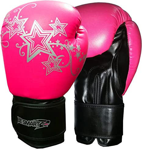 Black with Pink Silver Flower, 10 Oz Pro Leather Boxing Gloves,MMA,Sparring Punch Bag,Muay Thai Training Gloves