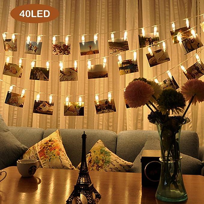 Xcellent Global Guirlande LED Photo Clips, fil lumineux de 5m, avec 40 pinces à linge pour y suspendre vos photos, vos peintures, vos cartes, vos notes, décoration, 3 modes, lumière blanche chaude, scinti