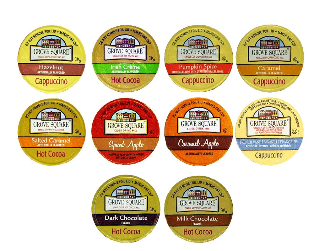 10-count Hot Cocoa, Cappuccino and Cider Single Serve Cups for Keurig K Cup Brewer Sampler of Grove Square