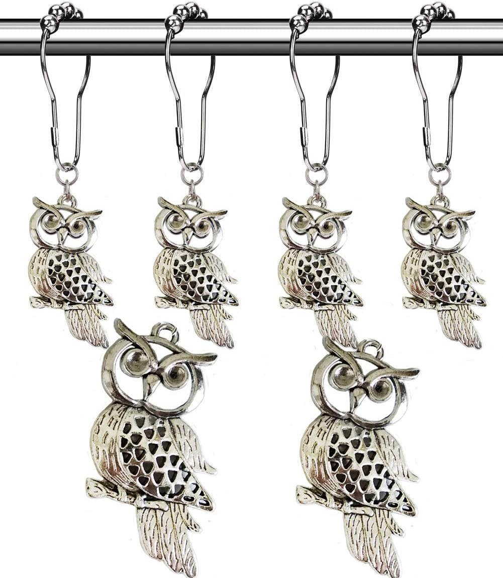 Aimoye Country Shower Curtain Hooks - Rust Proof Brushed Nickel Rings with Owl Pendant Accessories Set - Decorative Metal Shower Curtain Hooks and Rings for Bathroom Shower Curtain Rods, Set of 12