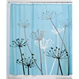 InterDesign Thistle Fabric Shower Curtain, 72 x 72-Inch, Blue/Black