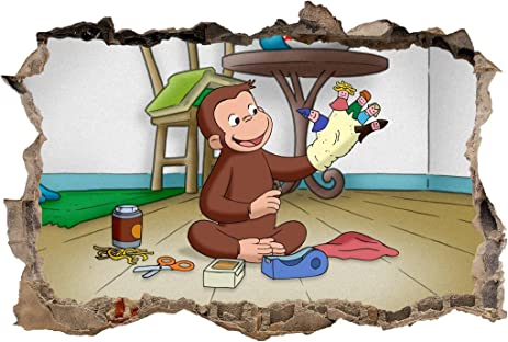 Amazon.com: Curious George Smashed Wall Decal Graphic Wall Sticker ...
