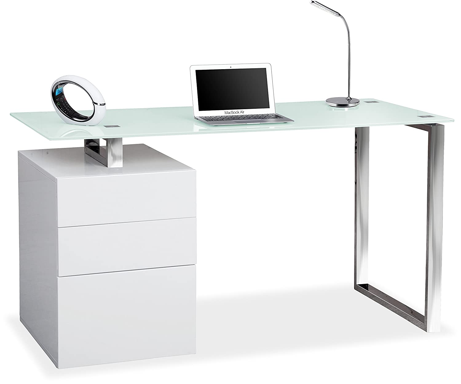 home office desk white. Centurion Supports CALISTA Gloss White With Brushed Steel Legs 3-Drawer Contemporary Home Office Computer Desk: Amazon.co.uk: Kitchen \u0026 Desk