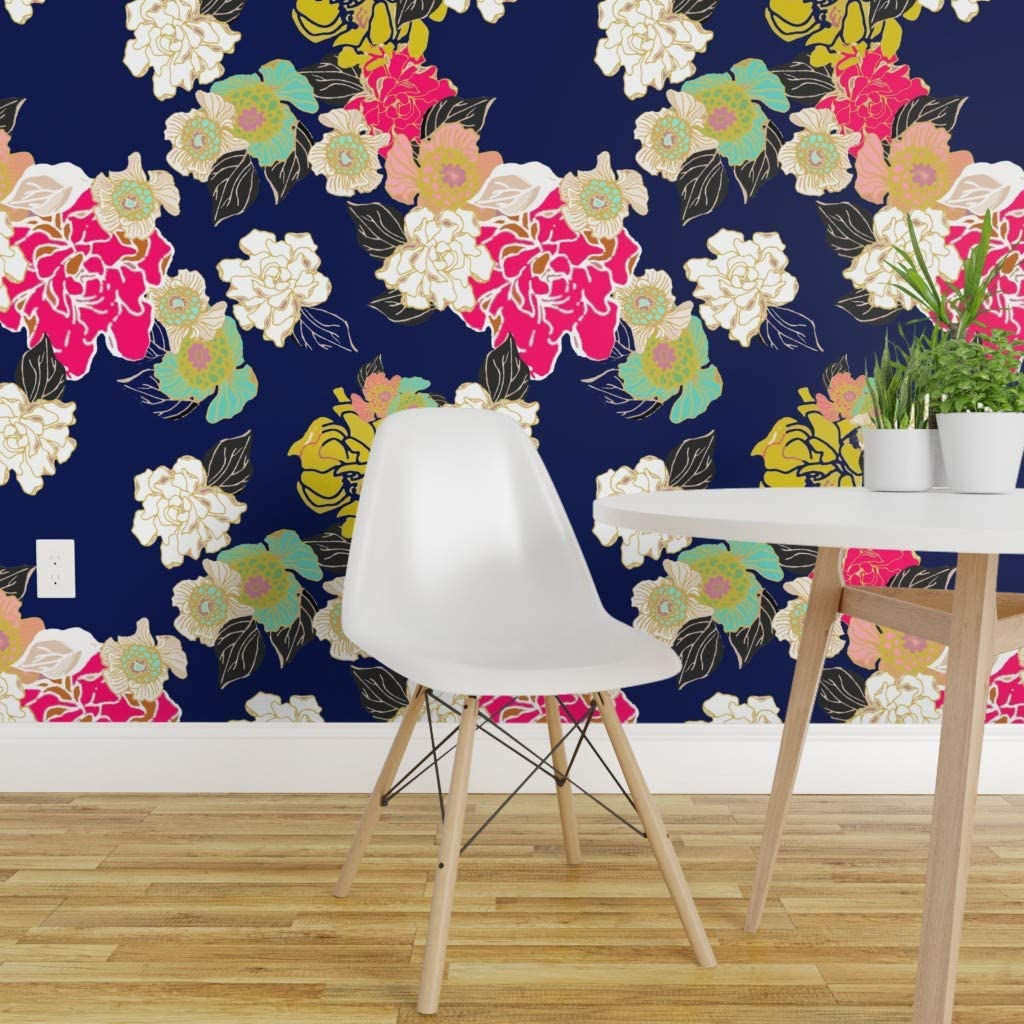 Spoonflower Peel And Stick Removable Wallpaper Floral Garden Blue