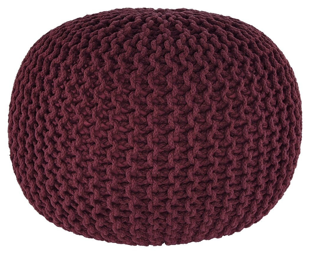 Ashley Furniture Signature Design - Benedict Pouf - Comfortable Ottoman & Footrest - Handmade Rib Knit - Charcoal Gray A1000559