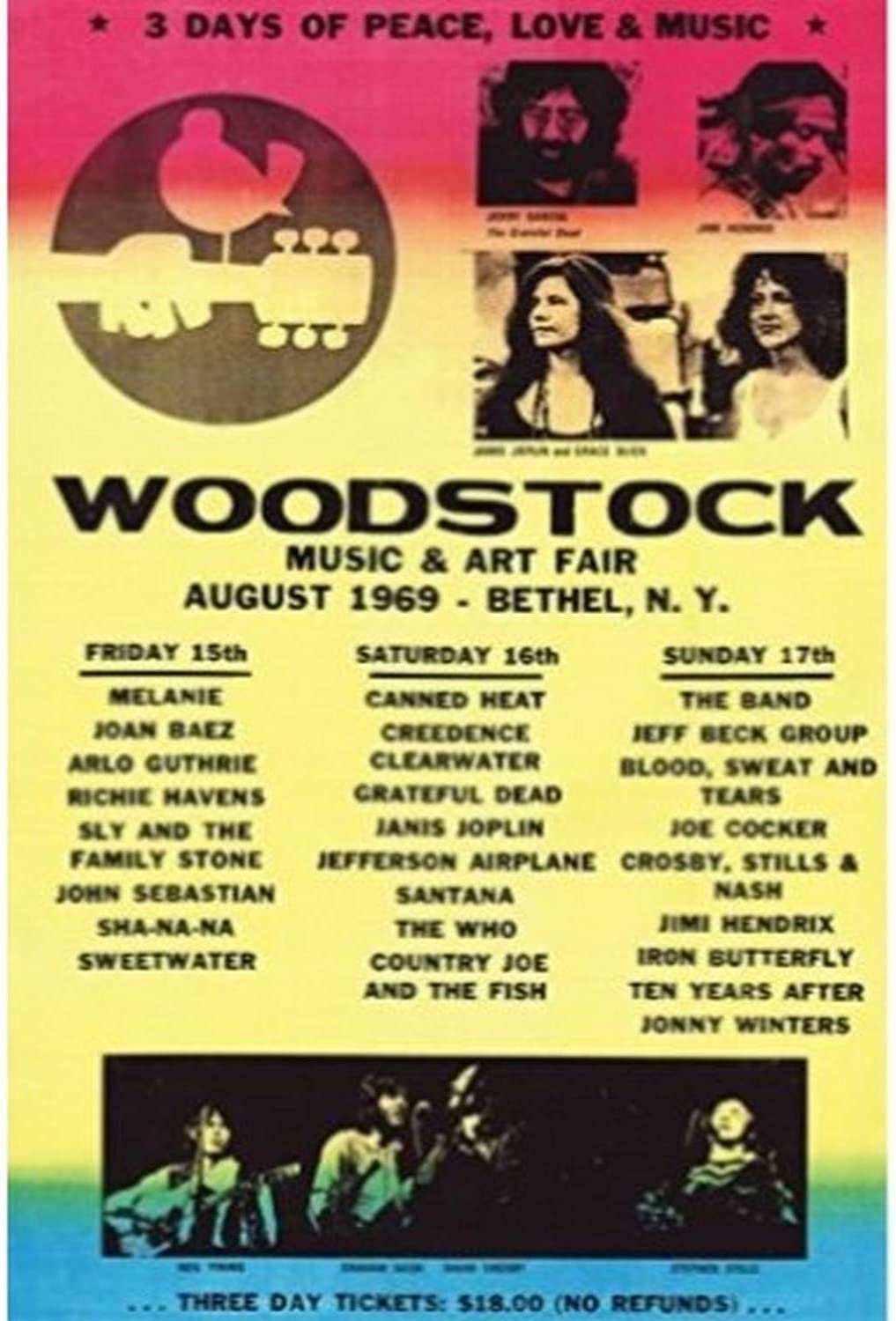 Buyartforless Woodstock Line-Up 1969 36x24 Art Print Poster Wall Decor - 3 Days of Peace Love and Music Concert Poster