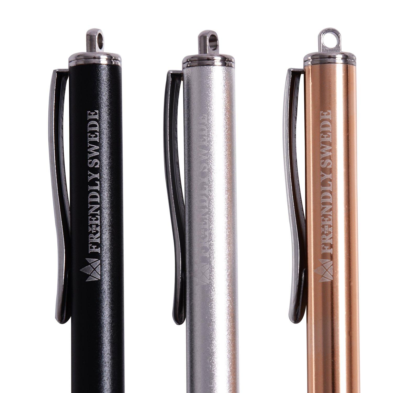 f/ür Tablett und Handy 3er-Set The Friendly Swede Eingabestift Touchstift Stylus Stift mit d/ünnerer Spitze Ersatzspitzen Anh/ängern und Reinigungstuch