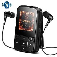 Bluetooth 4.0 8GB MP3 Player mit Clip, FM Radio, Diktiergerät, HD Bildschirm, Lossless Sound, unterstützt bis 128 GB SD Karte von AGPTEK G6, Schwarz