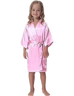 Aibrou Kids  Satin Kimono Robe Bathrobe Nightgown for Spa Party Wedding  Birthday 87d83c527