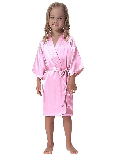 b4f266aab Amazon.com: Aibrou Kids' Satin Kimono Robe Bathrobe Nightgown for Spa Party  Wedding Birthday: Clothing