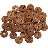 Bluelans® Knöpfe für Kinder Kinderknöpfe Holzknöpfe Knopf Scrapbooking Mischung aus 50 Holzknöpfen, 25mm Durchmesser