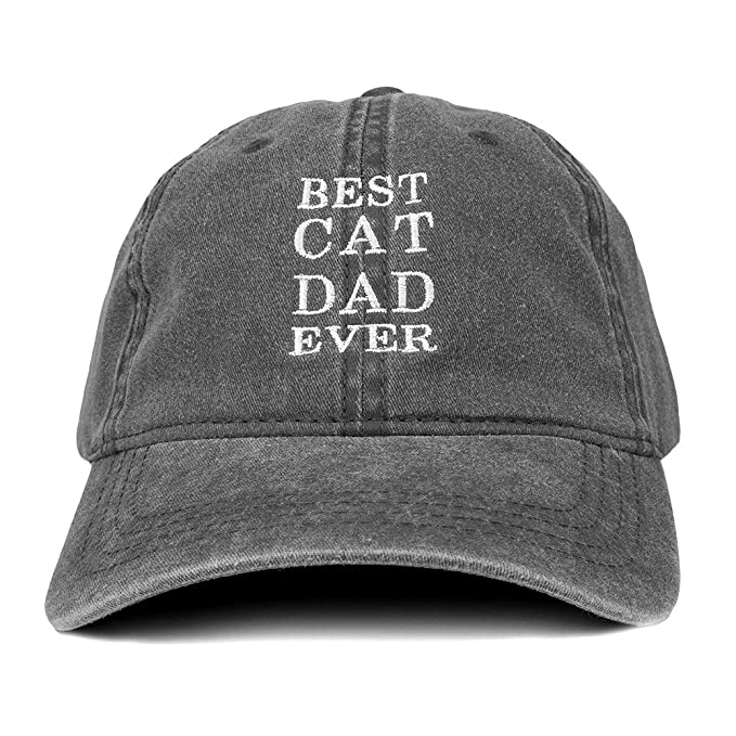 Trendy Apparel Shop Best Cat Dad Ever Embroidered Soft Fit Washed Cotton  Baseball Cap - Black b5f408638d90