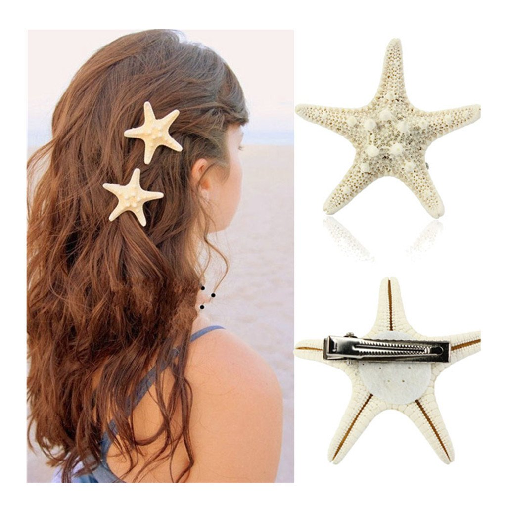 XILALU Women Lady Girls Pretty Starfish Star Beige Hair Clip hair accessories headpiece