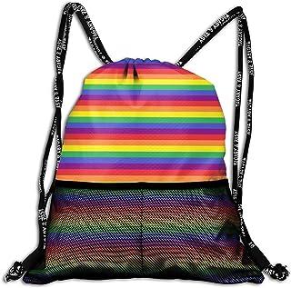 LINGJIE Lightweight Foldable Large Capacity Rainbow Pride Stripes Unisex Drawstring Casual Rucksack with Mesh Beam Backpack Bag