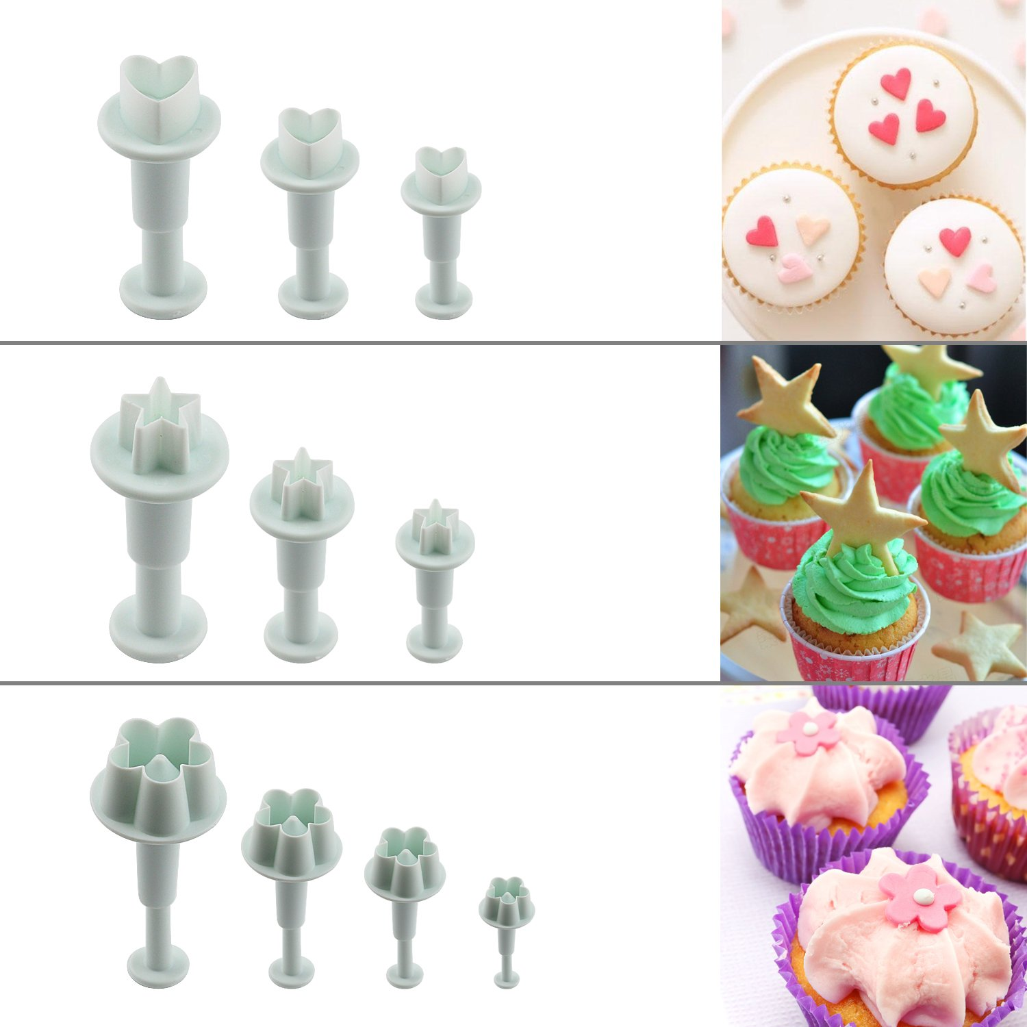 Aoafun 88pcs Fondant Sugarcraft Cake Decorating Plunger Cutters Icing Modelling Tool Kit Set with Rolling Pin, Smoother, Embosser Mold Mould Tools by Aoafun (Image #5)