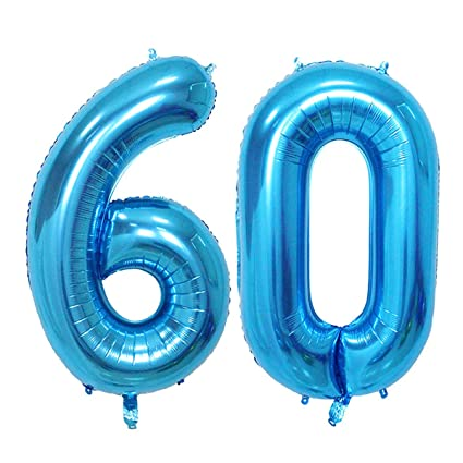 Number 60 Blue Foil 40inch Jumbo Digital Balloons 60th Birthday Decoration For Men Big
