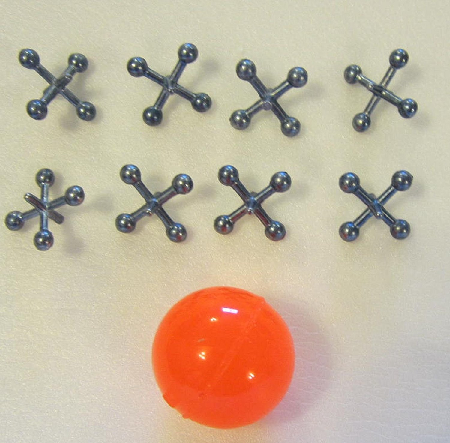 METAL STEEL JACKS WITH SUPER RED RUBBER BALL GAME CLASSIC TOY KIDS- 12PACK