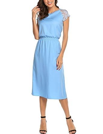 f3feafe27b3d SE MIU Women Lace Patchwork Midi Dress O Neckline Short Sleeves Casual Long  Dresses Summer