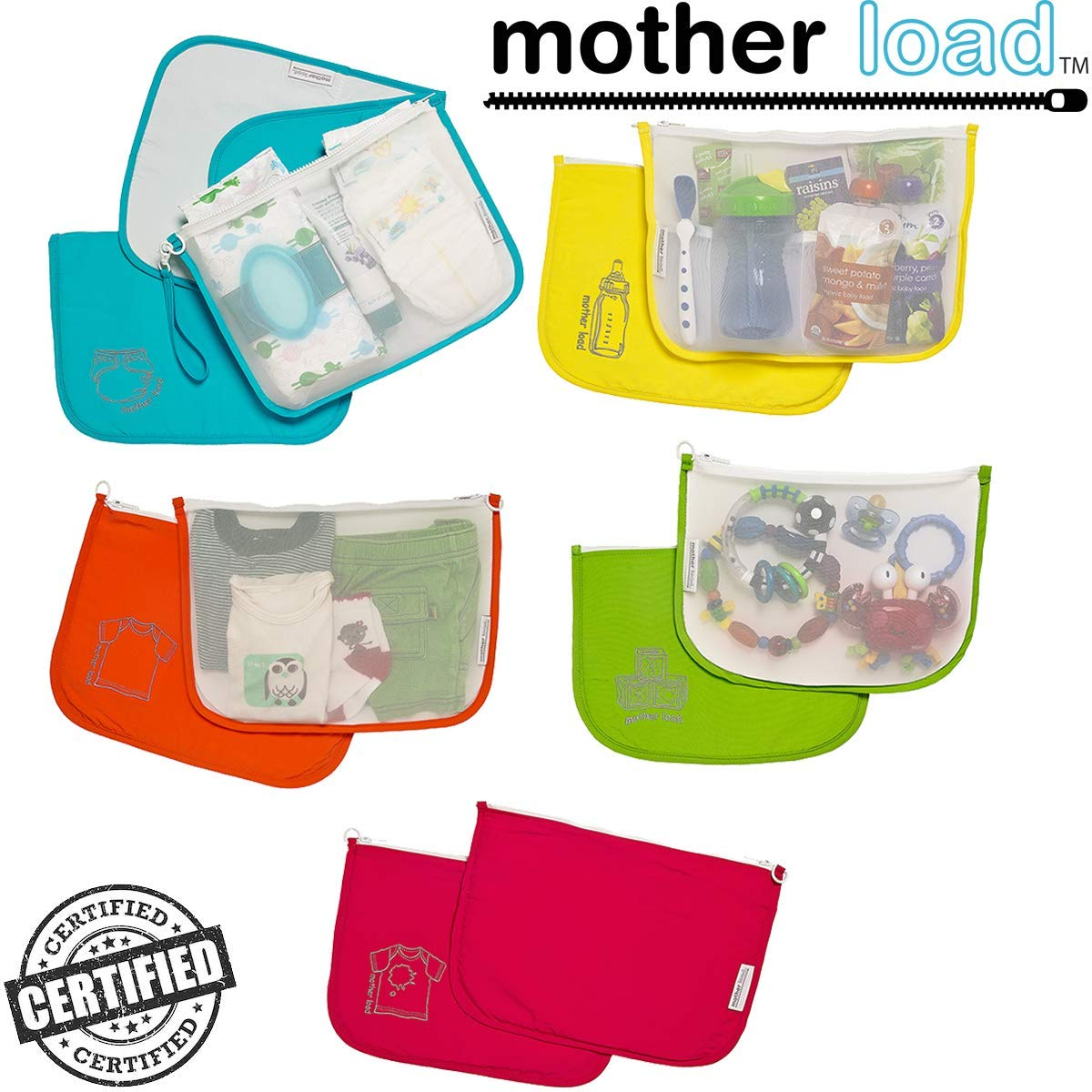 Diaper Bag Organizer Pouches by MOTHER LOAD - Designed for The On-The-Go Family (Mom & Dad's), Organize Any Traditional Diaper Bag, Purse or Backpack with This 5 Piece Set from Mother Load by Mother Load