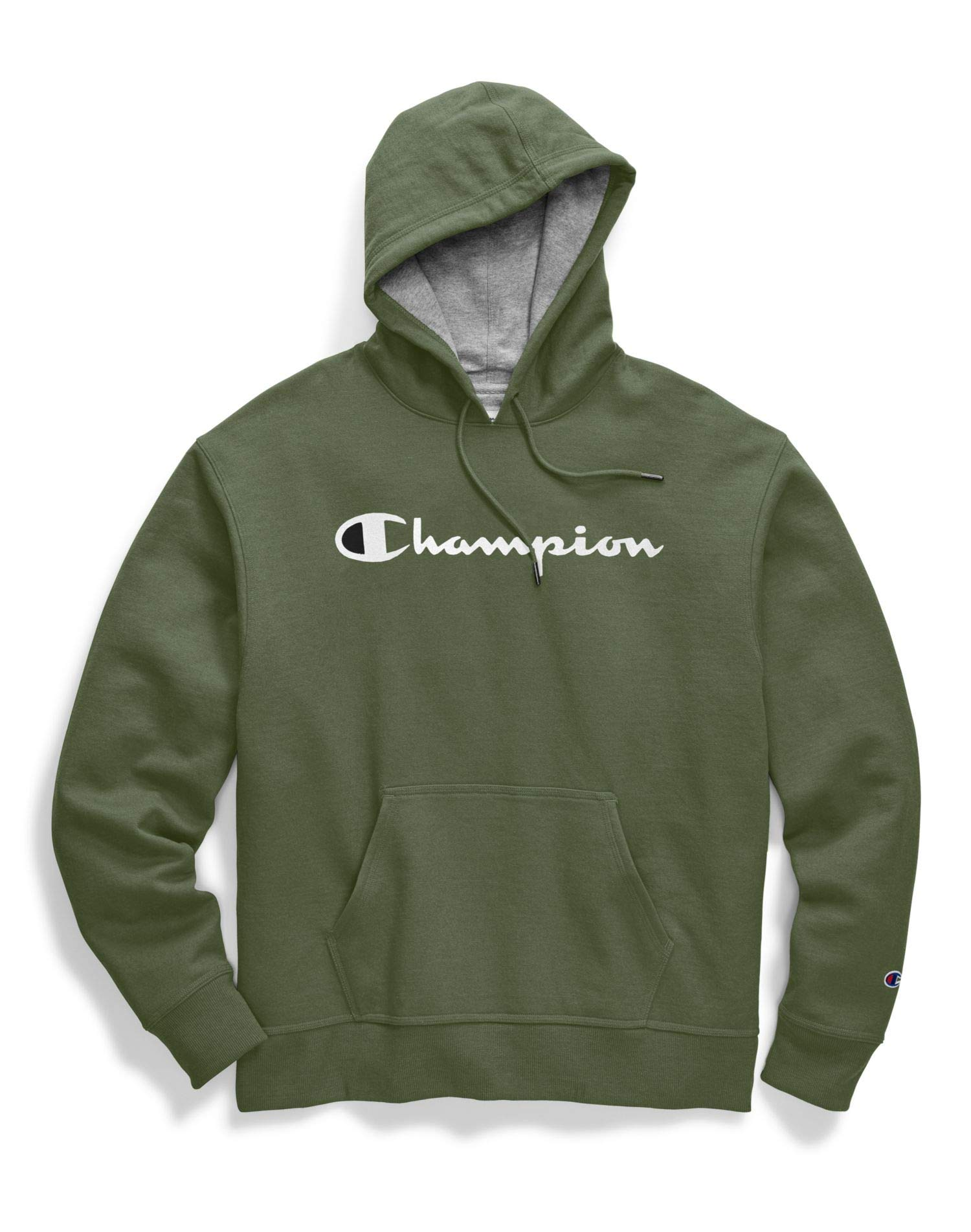 Champion Mens Powerblend Pullover Hoodie, M, Script Logo Cargo Olive by Champion