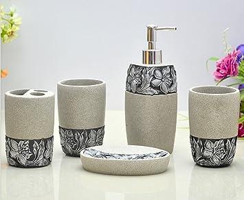 Hongs Engraving Floral Bathroom Accessories Set Piece Bath