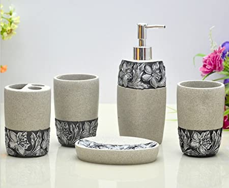 HONGS Engraving Floral Bathroom Accessories Set, 5 Piece Bath Ensemble, Bath  Set Collection Soap