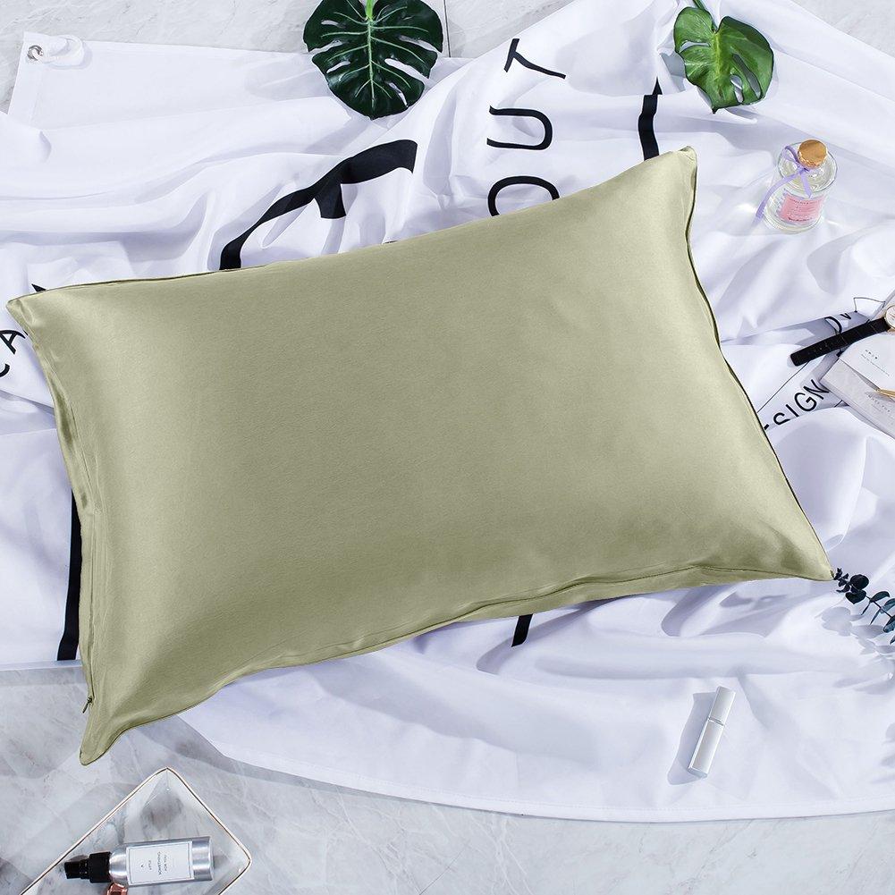 thxsilkシルク枕カバーfor Hair and skin-mulberryシルク枕cover-hypoallergenic with Hidden zipper-22匁天然Mulberryシルク両側に キング グリーン W01W07522c B07BHJW776 キング|ライトグリーン ライトグリーン キング