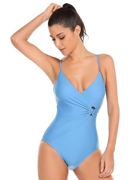Amazon.com: Ekouaer monokini acolchados, escote en V, traje ...