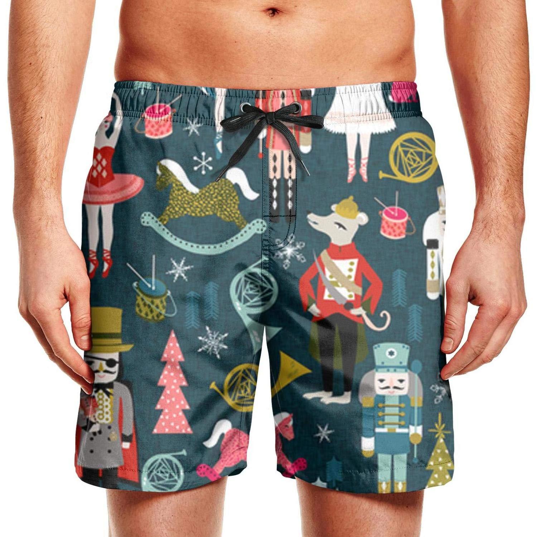 CCBING Nutcracker Ballet Xmas Holiday Christmas Design Mens Funny Swim Trunks Waterproof Surfing